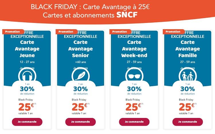 sncf carte jeune promo SNCF Black Friday : toutes les cartes Avantage à 25€ au lieu de 49€ !