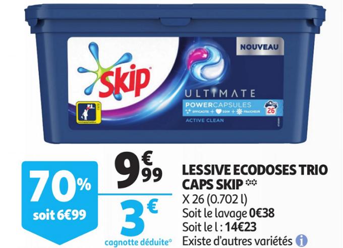 Optimisation Auchan 26 Capsules De Lessive Skip A Moins De 1