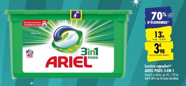 Optimisation Lessive Ariel 1 48 Les 40 Capsules Chez Carrefour